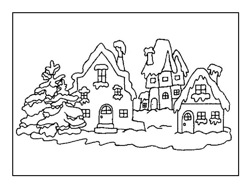 Раскраски домики зимние