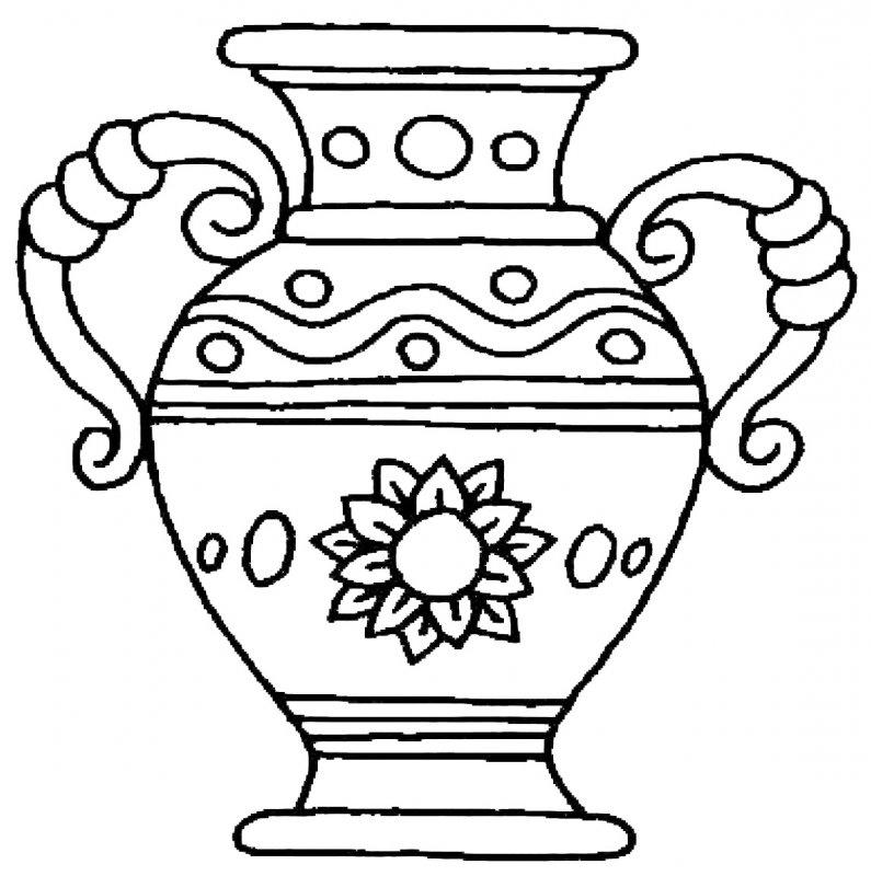 Картинка ваза с цветами раскраска