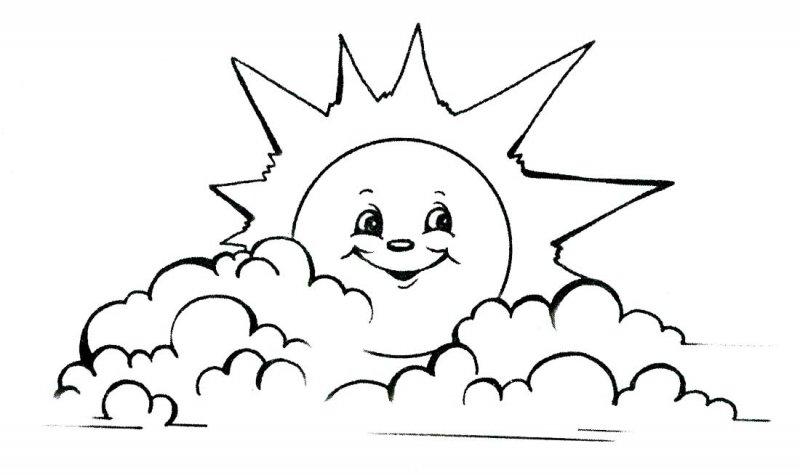 Раскраска для детей солнышко