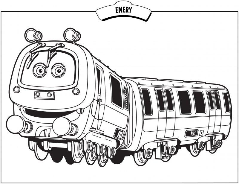раскрась паровозик: